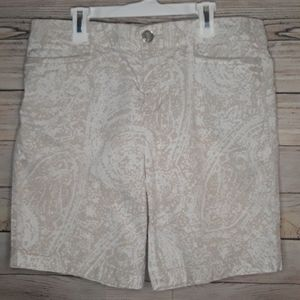 INTRO. Elastic waistband khaki patterned bermuda